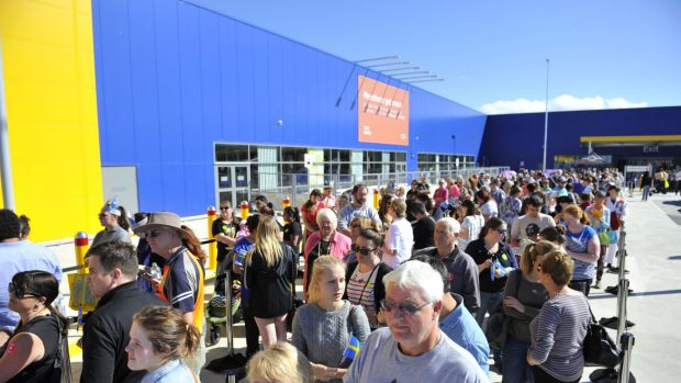 Queues for the opening day of Ikea in Canberra.