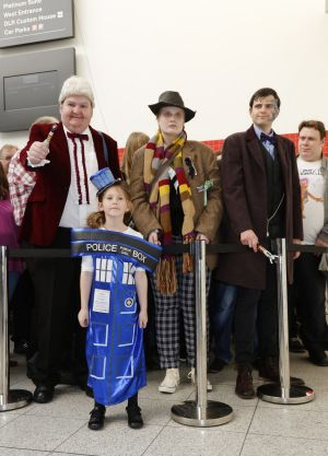 Fans at the London Doctor Who Festival 2015. Some came wearing costumes from Tom Baker's scarf to the TARDIS.