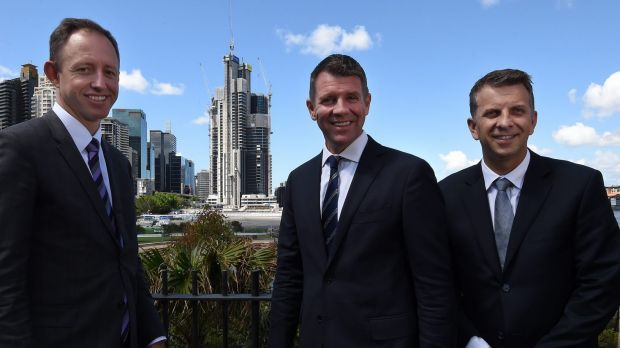 Program director of Sydney Metro Rodd Staples (left) with Premier Mike Baird  and Minister for Transport and ...