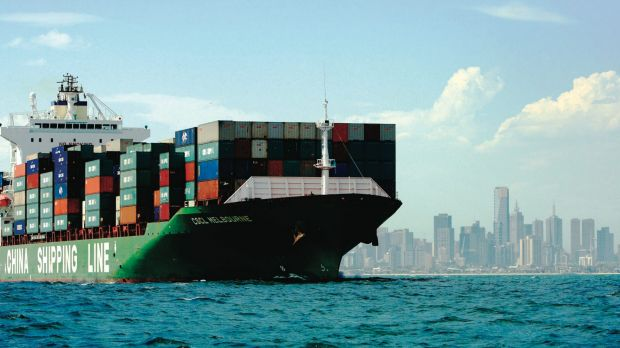 A container ship off Melbourne.