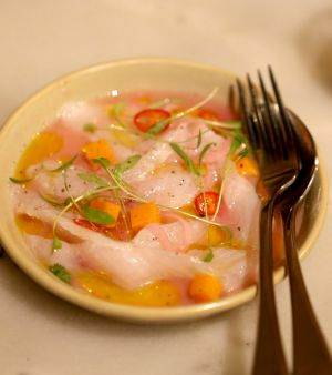The ceviche, lemon-cured white fish, at San Telmo.