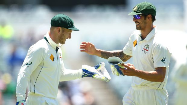 Mitchell Johnson and Peter Nevill on day four of the second Test.