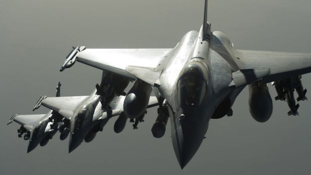 French army Rafale fighter jets fly towards Syria as part of France's Operation Chammal launched in September 2015 in ...