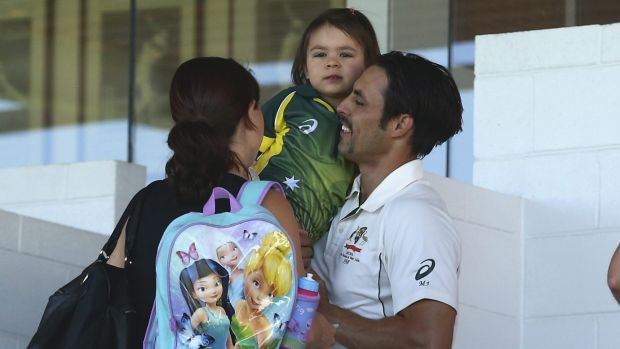 Time to pack: Mitchell Johnson with his daughter Rubika and wife Jessica at the WACA.