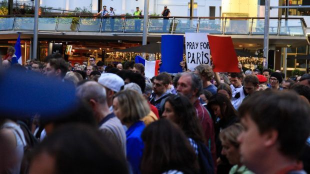 A candlelight vigil in Brisbane to show solidarity with the people of Paris.