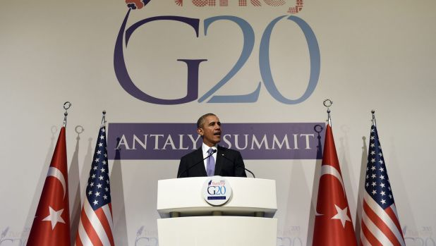 President Barack Obama speaks during a news conference following the G-20 Summit in Turkey.