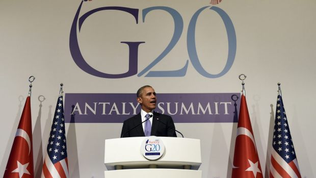Upset at Republicans on refugees: President Barack Obama speaks during a news conference following the G-20 Summit in ...