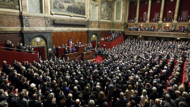 Hollande gave a stirring address to an emergency joint sitting of the French Parliament.