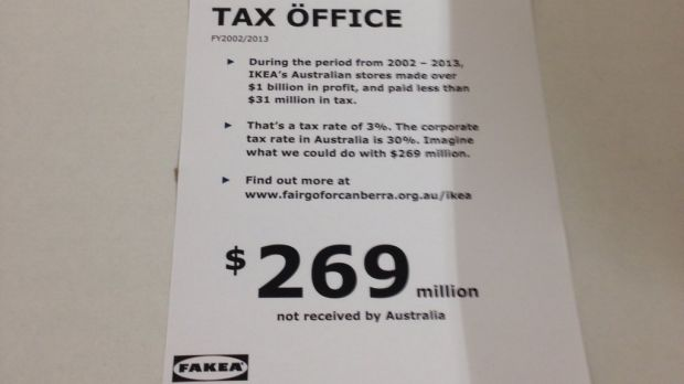 Parody price tags were littered throughout Canberra's brand-new IKEA store on Monday.