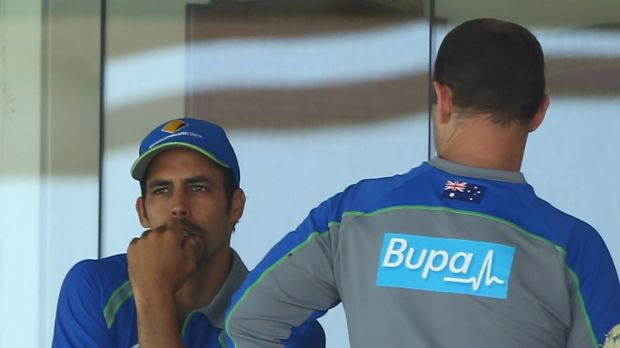 Bowing out: Mitchell Johnson looks on during the last day of the second Test.