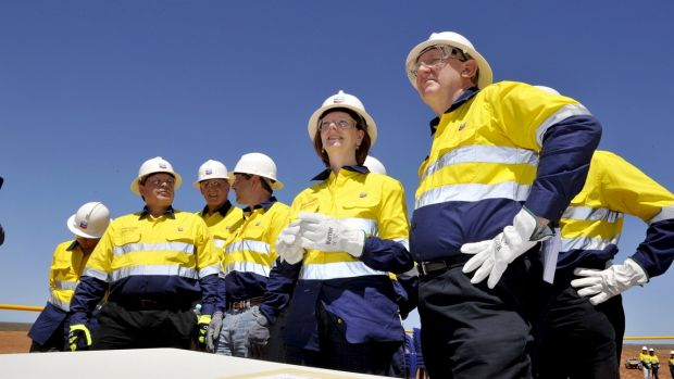Then prime minister Julia Gillard and resource minister Martin Ferguson visit Barrow Island to see the Chevron-run ...