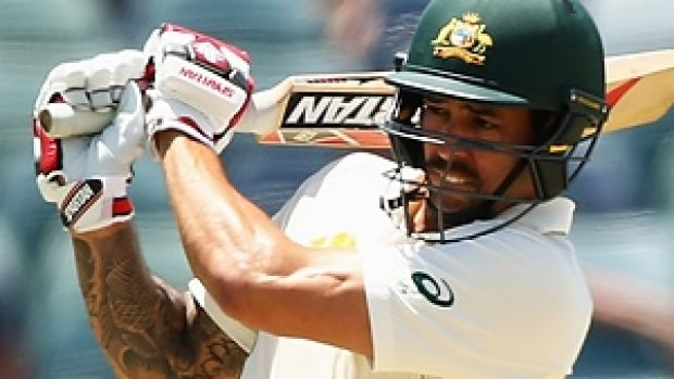 Mitchell Johnson on his way to 29 in his final batting innings, at the WACA.