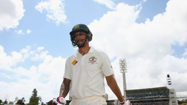 Mitchell Johnson leaves the field after being dismissed in the Perth Test on Tuesday.