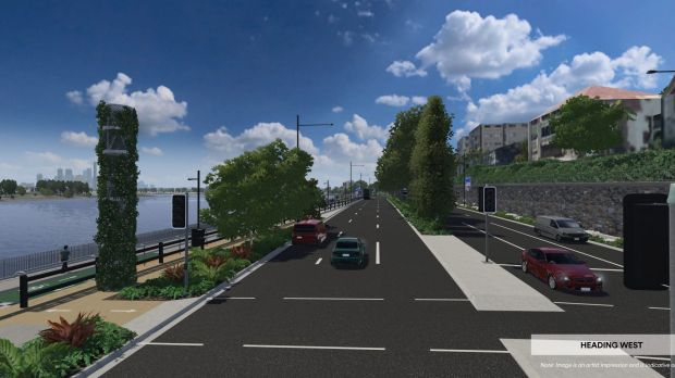 Artists' impression of the Kingsford Smith Drive widening, with pedestrian and cycling facilities to the right.