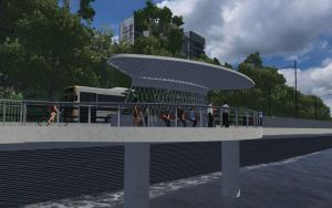 A riverside rest stop that forms part of the Kingsford Smith Drive project.