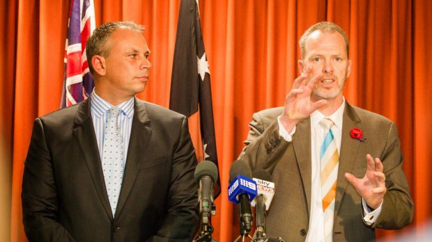 NT Chief Minister Adam Giles (left) and Jemena managing director Paul Adams say the new pipeline will allow NT gas to ...