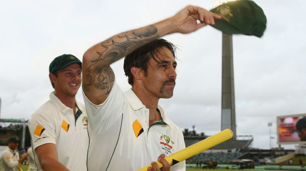 Mitchell Johnson waves to the crowd after the second Test ended in a draw.