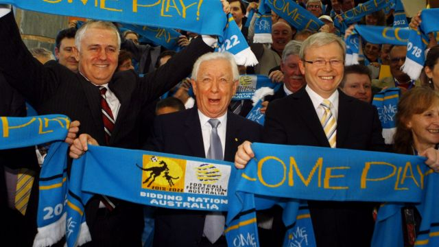 The failed bid: Frank Lowy (centre) with then opposition leader Malcolm Turnbull and PM Kevin Rudd in 2009.