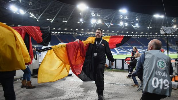 Police evacuate the  HDI Arena prior to the International Friendly match between Germany and Netherlands in Hanover, Germany.