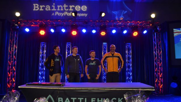 Team Melbourne on stage at the BattleHack World Finals.