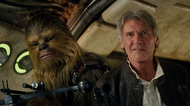 Harrison Ford as Han Solo with Chewbacca in <i>Star Wars: The Force Awakens.</i>