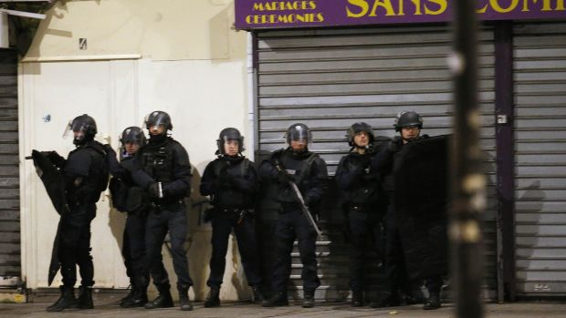 Police forces in Saint-Denis, where authorities told residents to stay inside.