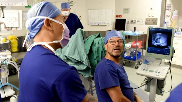 A new, less-invasive procedure for getting rid of prostate cancer being performed at St Vincent's Hospital by Professor ...