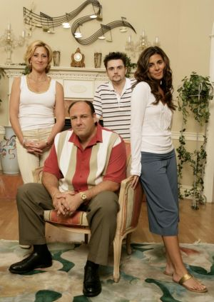 Sigler (right) with her onscreen family in The Sopranos.