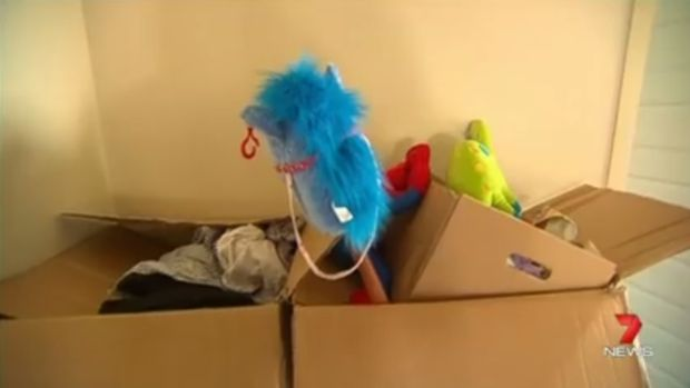 Boxes of donations made to the family after Roman's death were abandoned at the house.