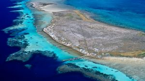 Fishing huts are among the only signs of human life amid the Houtman Abrolhos Islands off the coast of Western Australia.