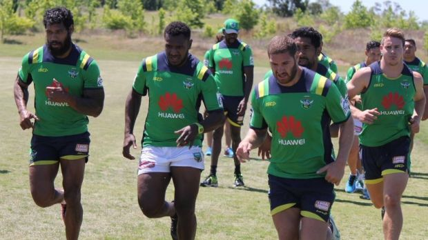 PNG international Kato Ottio (second from left) is training with the Canberra Raiders.