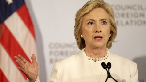 Hillary Clinton speaks at the Council on Foreign Relations in New York on Thursday.