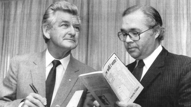 Former prime minister Bob Hawke and journalist Laurie Oakes at the launch of Laurie's book at the National Press Club in ...