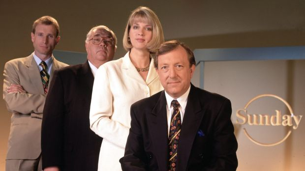 Channel Nine's <i>Sunday</i> Program: The presenters, left to right: Ross Coulthart, Laurie Oakes, Helen Dalley and Jim ...