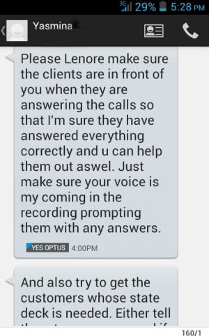 A text message sent by saleswoman Yashma to Lenore Lutanichi.