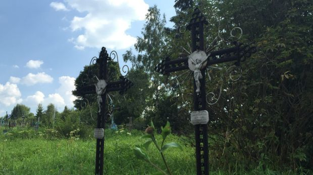 Dmytryshchak family graves at a churchyard in Oporets.