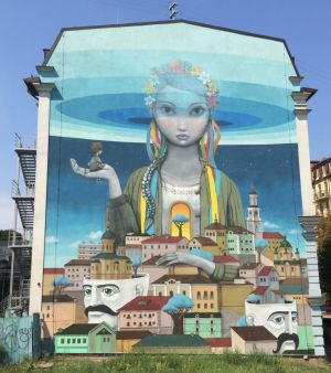 """A mural that appeared in spring 2014 as part of the annual French Spring festival. Painted by Julien """"Seth"""" Mallan, of ..."""