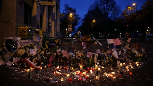 A memorial honouring those killed by terrorists including the 89 killed in the Bataclan attack grows in Paris.