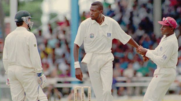 The way we were: Richie Richardson pulls Curtly Ambrose away from Steve Waugh during a fiery clash in 1995.