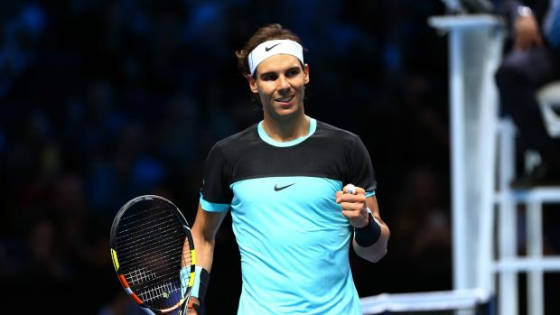Winning form: Rafael Nadal celebrates his victory over David Ferrer.
