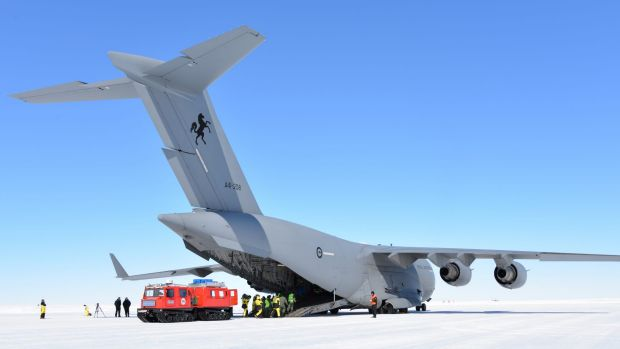 """Globemaster on ice: An RAAF heavy-lift aircraft takes on a """"patient"""" in a med-evac exercise."""