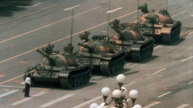 The famous confrontation between a lone protester and a column of tanks during the Tiananmen Square crackdown on June 5, ...