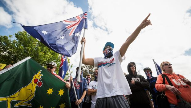 Members of  Reclaim Australia during simultaneous rallies between the ideologically opposed groups in Melton