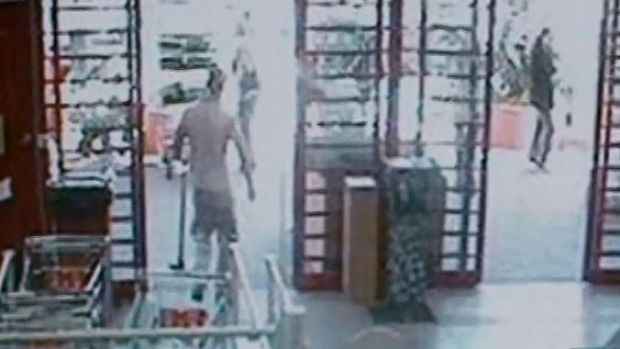 CCTV footage from Bunnings that shows Mr Atkins purchasing items.