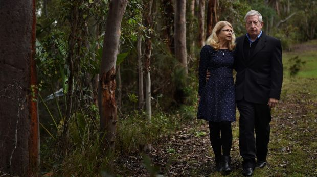 Faye Leveson, left,  and her husband Mark Leveson  in Bonnet Bay, Sydney.