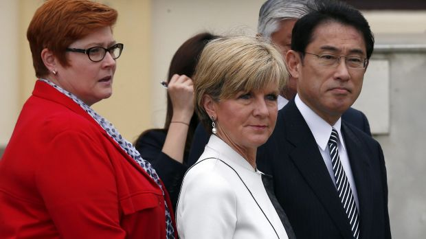 Foreign Minister Julie Bishop, centre, with her Japanese counterpart Fumio Kishida  and Defence Minister Marise Payne in ...