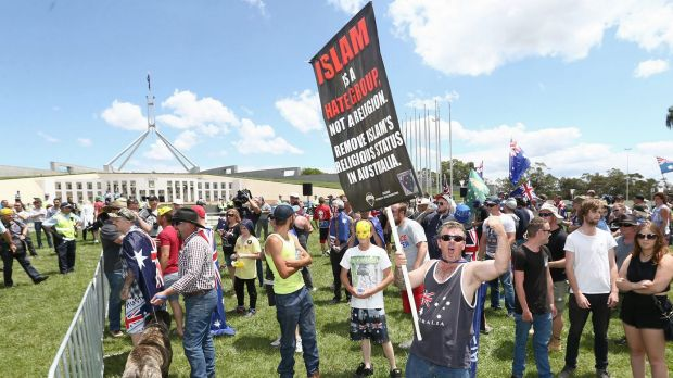 Reclaim Australia rally at the front of Parliament House in Canberra on Sunday 22 November 2015. Photo: Alex Ellinghausen