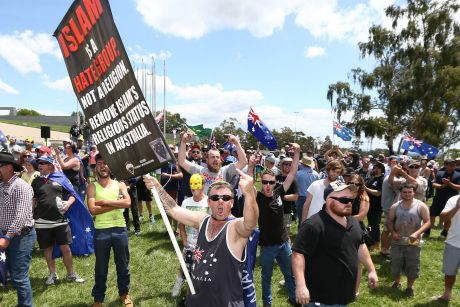 Reclaim Australia rally in front of Parliament House in Canberra.