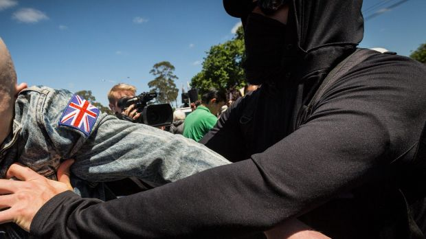 Members of  Reclaim Australia  clash with Antifa, the militant arm of Rally against Racism, during simultaneous rallies ...