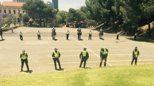 There was a heavy police presence at Parliament House.